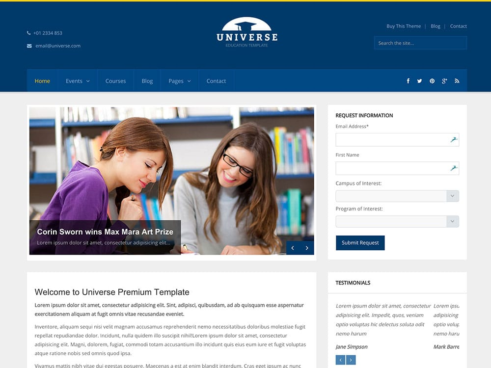 Universe - 51+ Top Best WordPress Themes For Education [year]