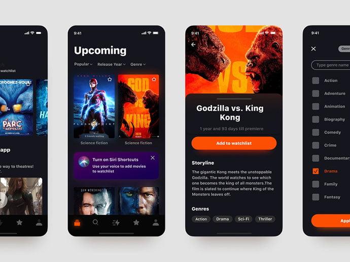 Upcoming - 63+ Amazing Film & TV App UI Design Sample [year]
