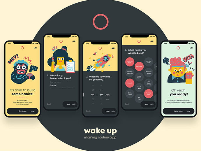 Wake-Up-–-Let's-Start - 51+ Best Free Onboarding UI Mobile App Sample [year]