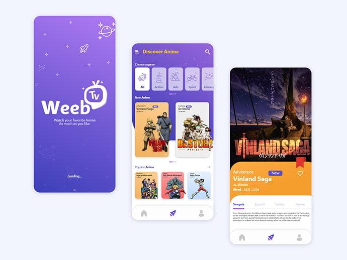 Weeb-Tv - 63+ Amazing Film & TV App UI Design Sample [year]