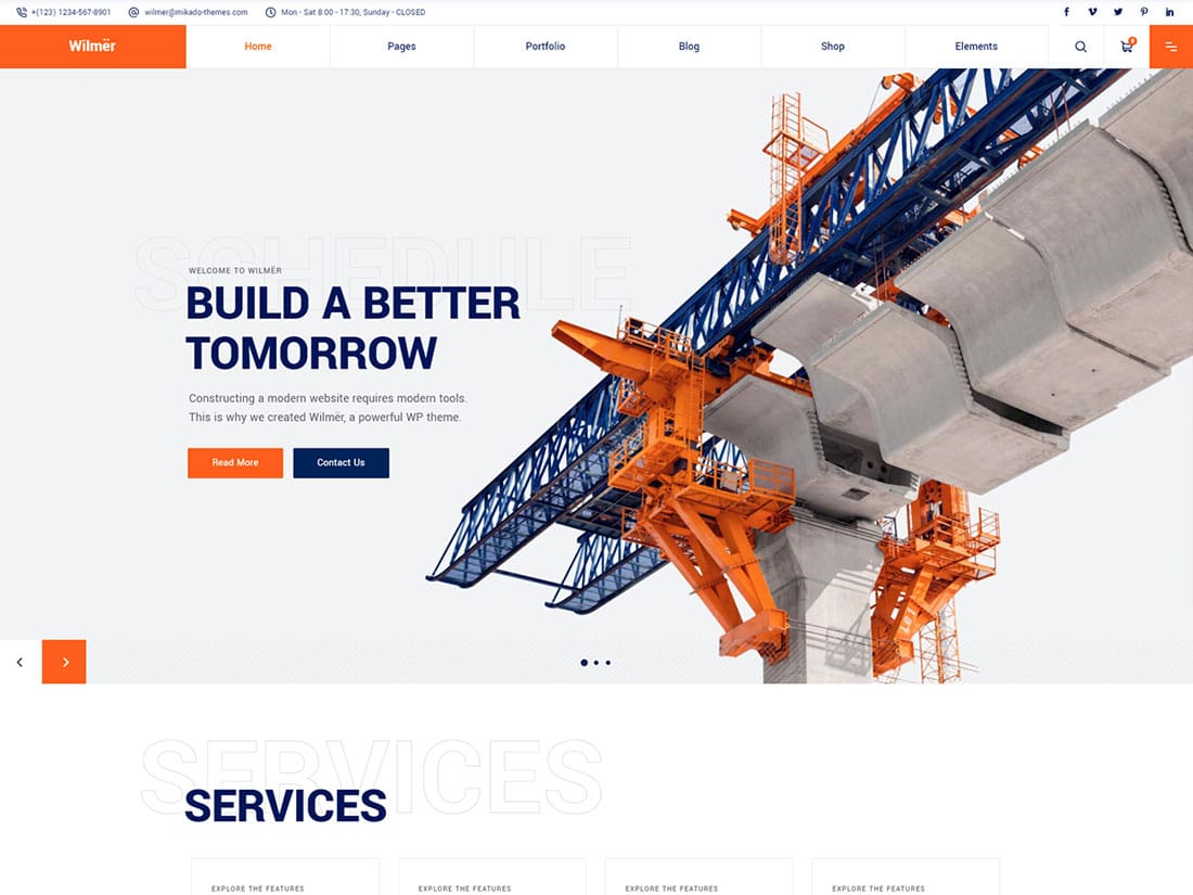 Wilmer - 37+ Top WordPress Themes For Construction Company [year]
