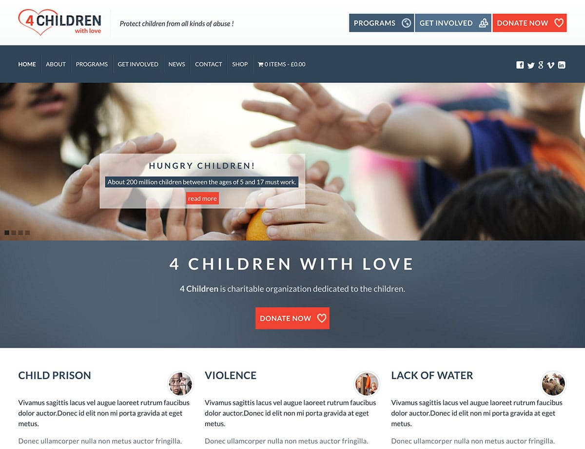 4-Children-with-Love - 36+ Amazing WordPress Themes For Non-Profit, Charity [year]