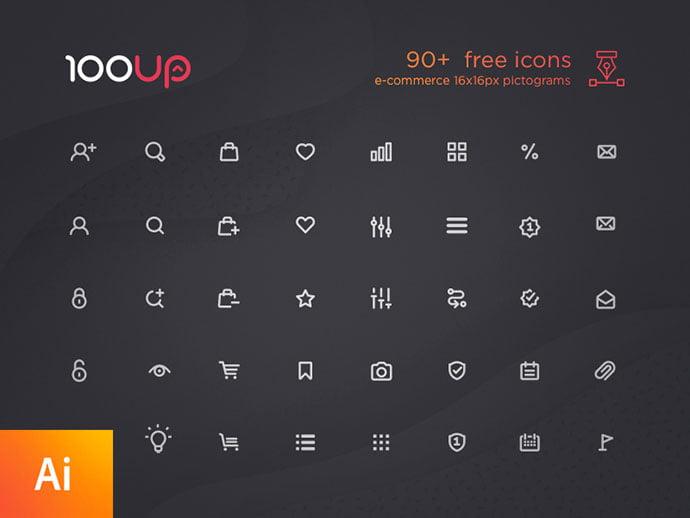 90-free-e-commerce-icon-set