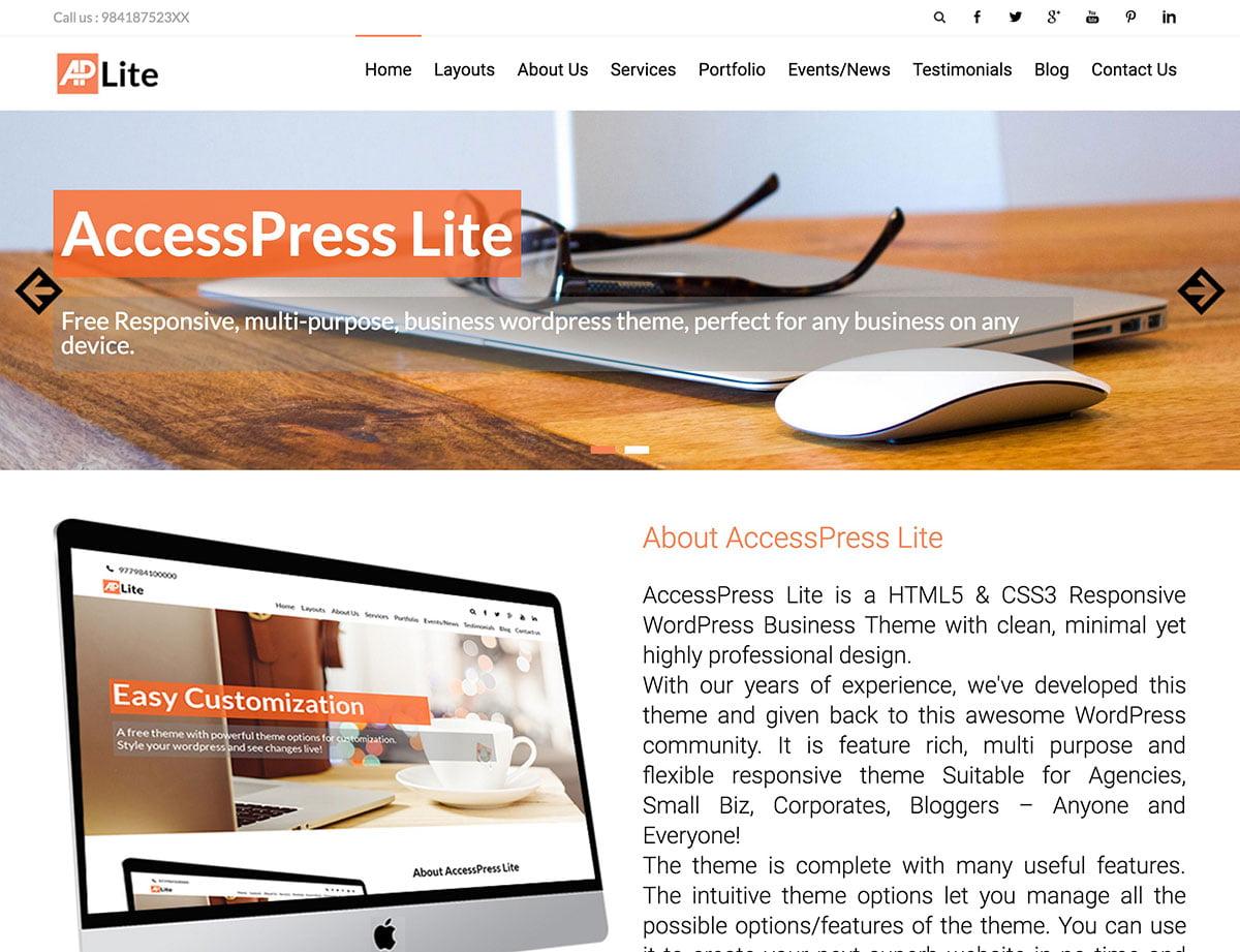 AccessPress-Lite - 46+ Nice Free WordPress Portfolio Themes [year]