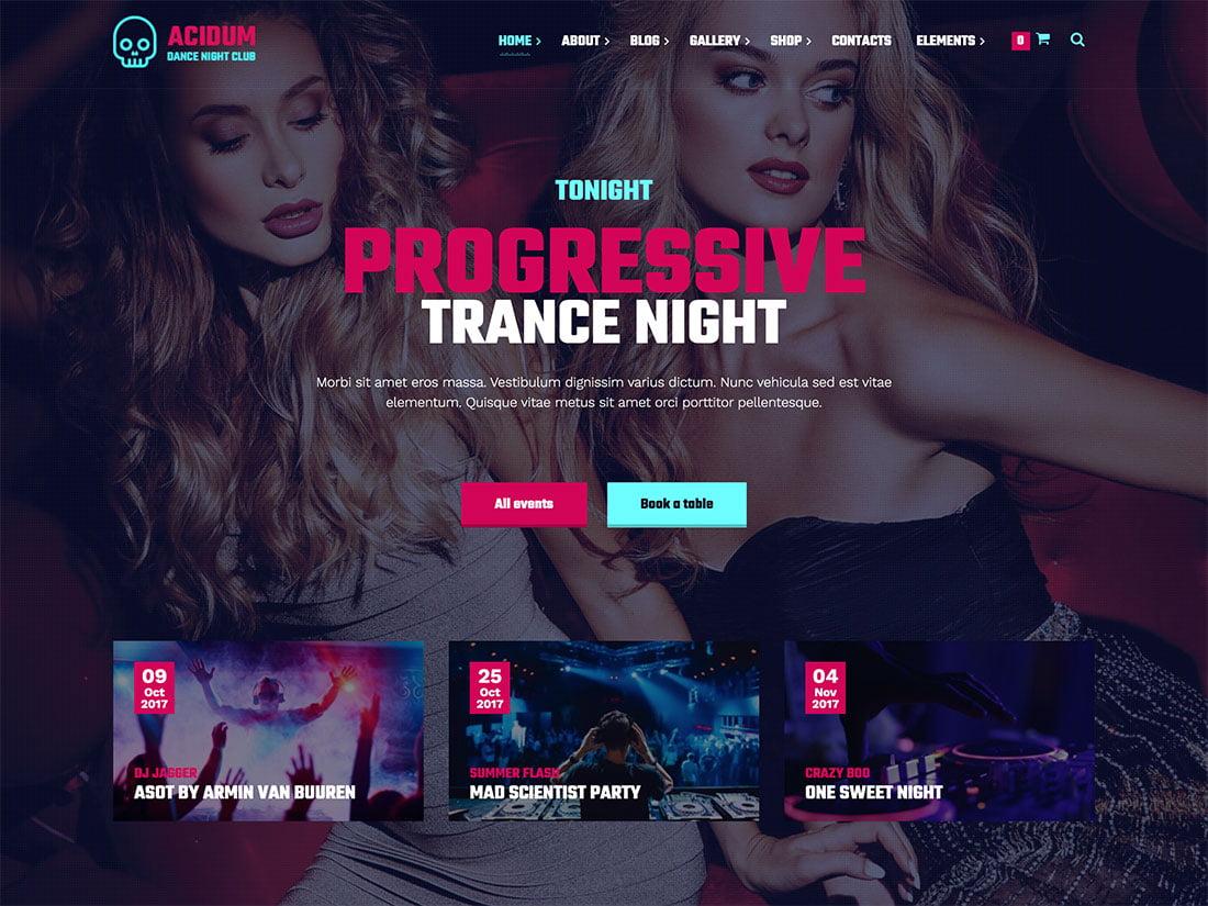 Acidum - 35+ Nice WordPress Themes For Nightclub [year]