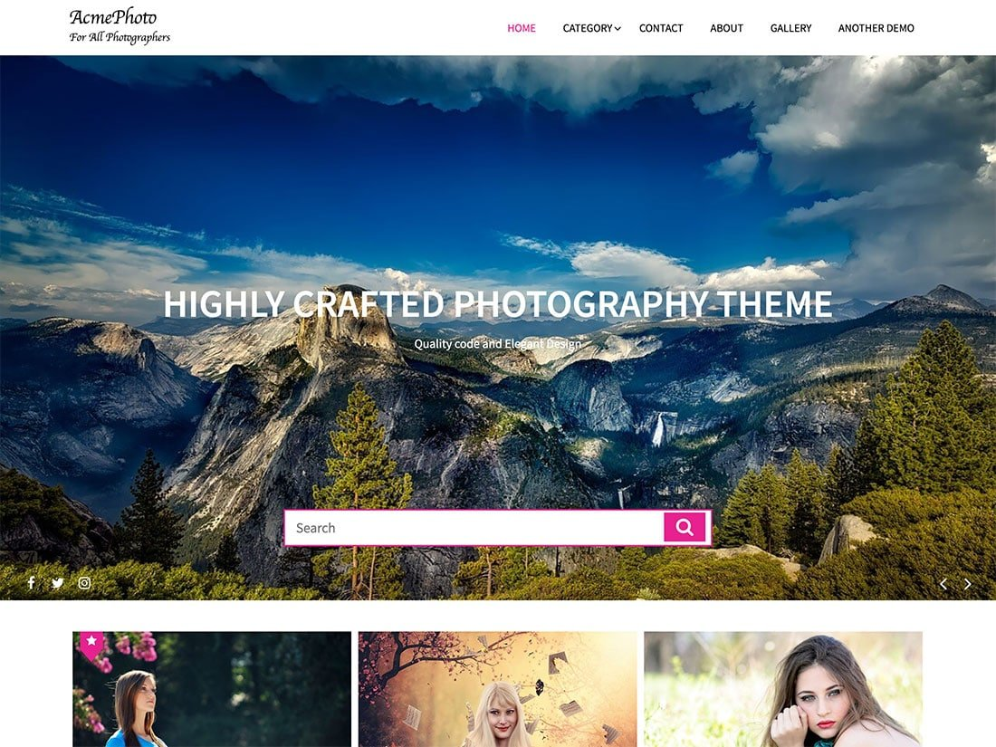 AcmePhoto - 51+ Nice Free WordPress Themes For Photography [year]