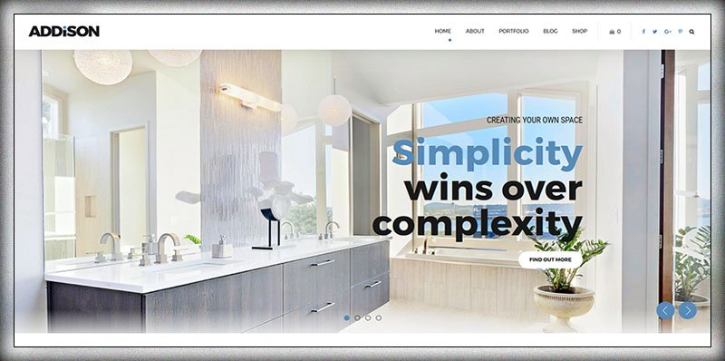 Addison - 36+ Top Quality WordPress Themes For Interior Design [year]