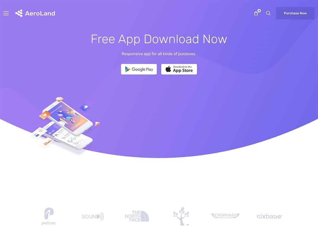 Aeroland - 40+ Amazing WordPress App Showcase Themes [year]
