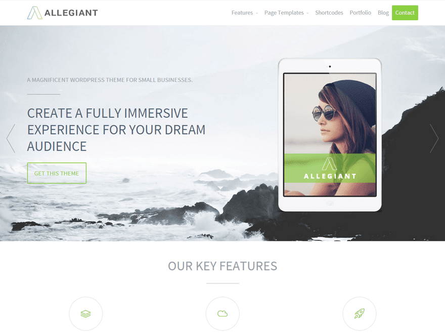 Allegiant - 46+ Best Free WordPress One Page Themes [year]
