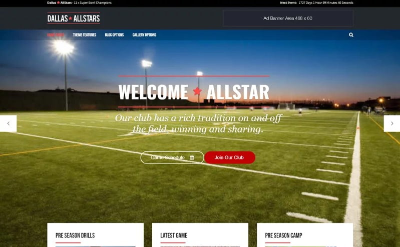 Allstar - 36+ Nice WordPress Golf Themes For Golf Clubs Websites [year]