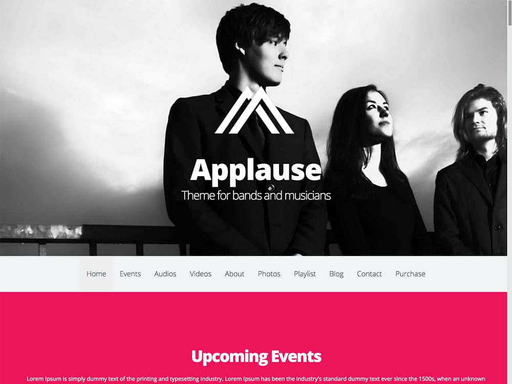 Applause - 40+ Awesome WordPress Themes For Music [year]