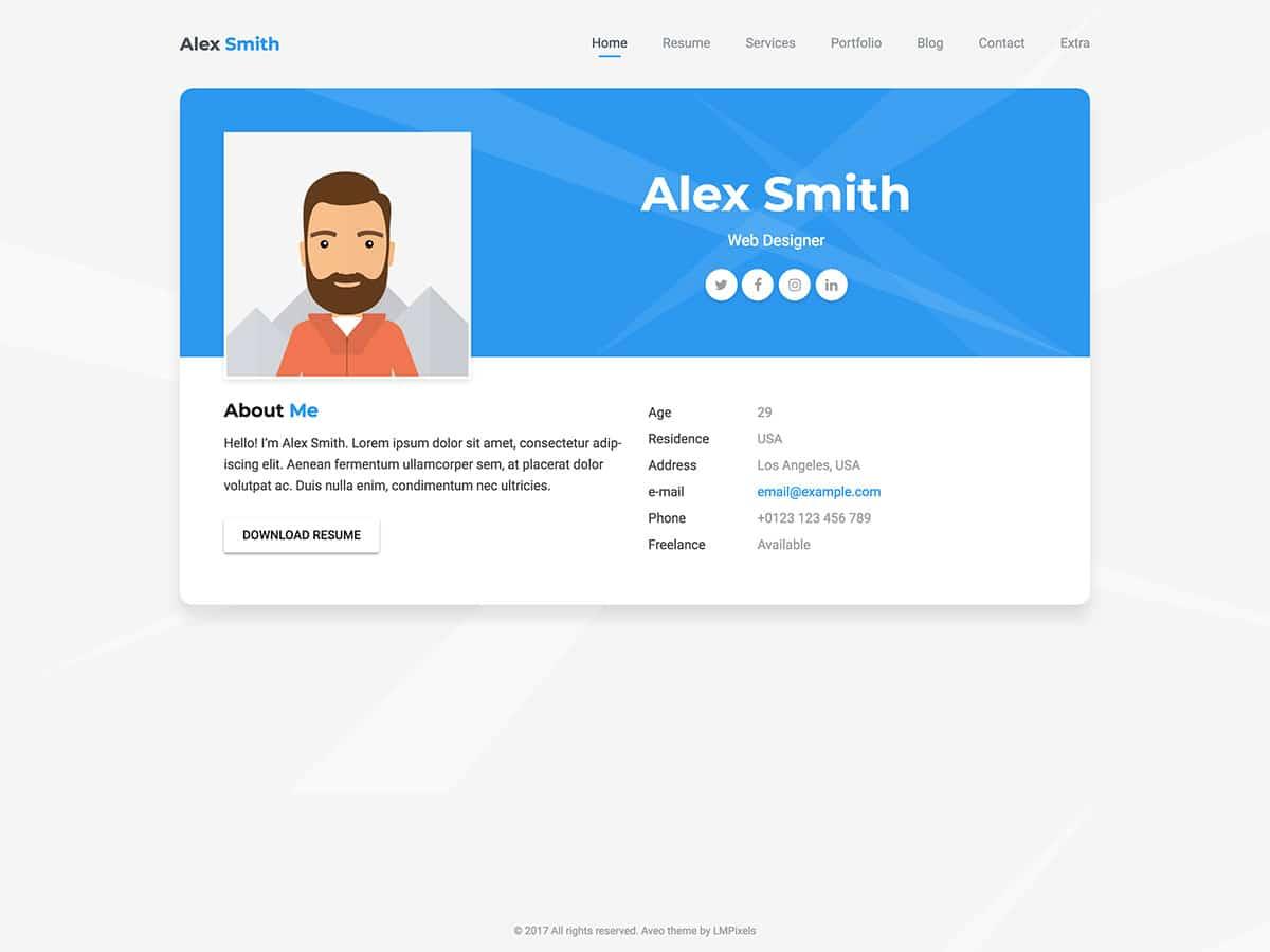 Aveo - 31+ Nice WordPress Themes For Resume [year]