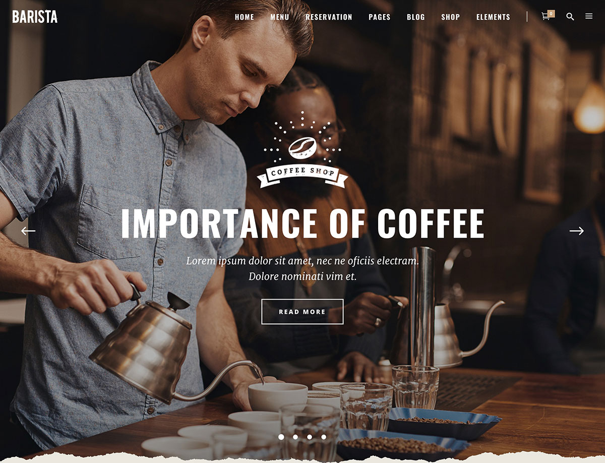 Barista - 36+ Top Quality WordPress Themes For Coffee Shop [year]