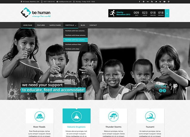 Be-Human - 36+ Amazing WordPress Themes For Non-Profit, Charity [year]