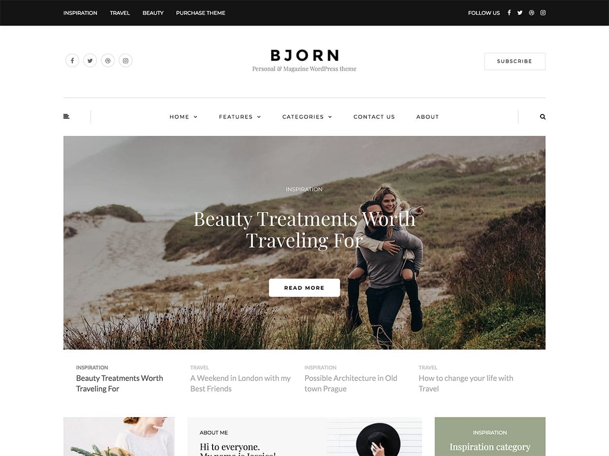 Bjorn-1 - 30+ Awesome Travel Blog WordPress Themes [year]