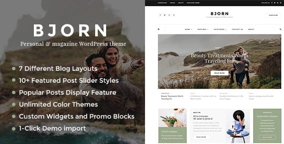 Bjorn-2 - 36+ Awesome WordPress Content Sharing Themes [year]