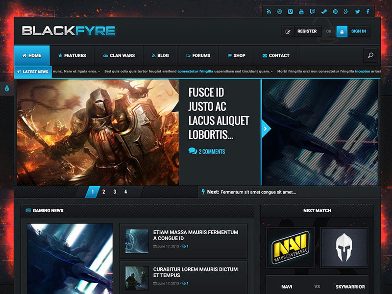 Blackfyre - 35+ Awesome WordPress Themes For Gaming [year]