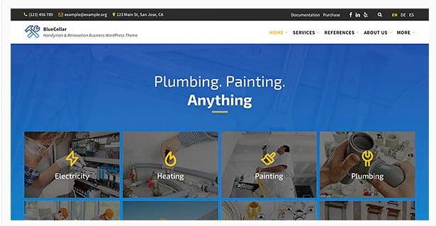 BlueCollar - 36+ Amazing Electricians WordPress Themes [year]