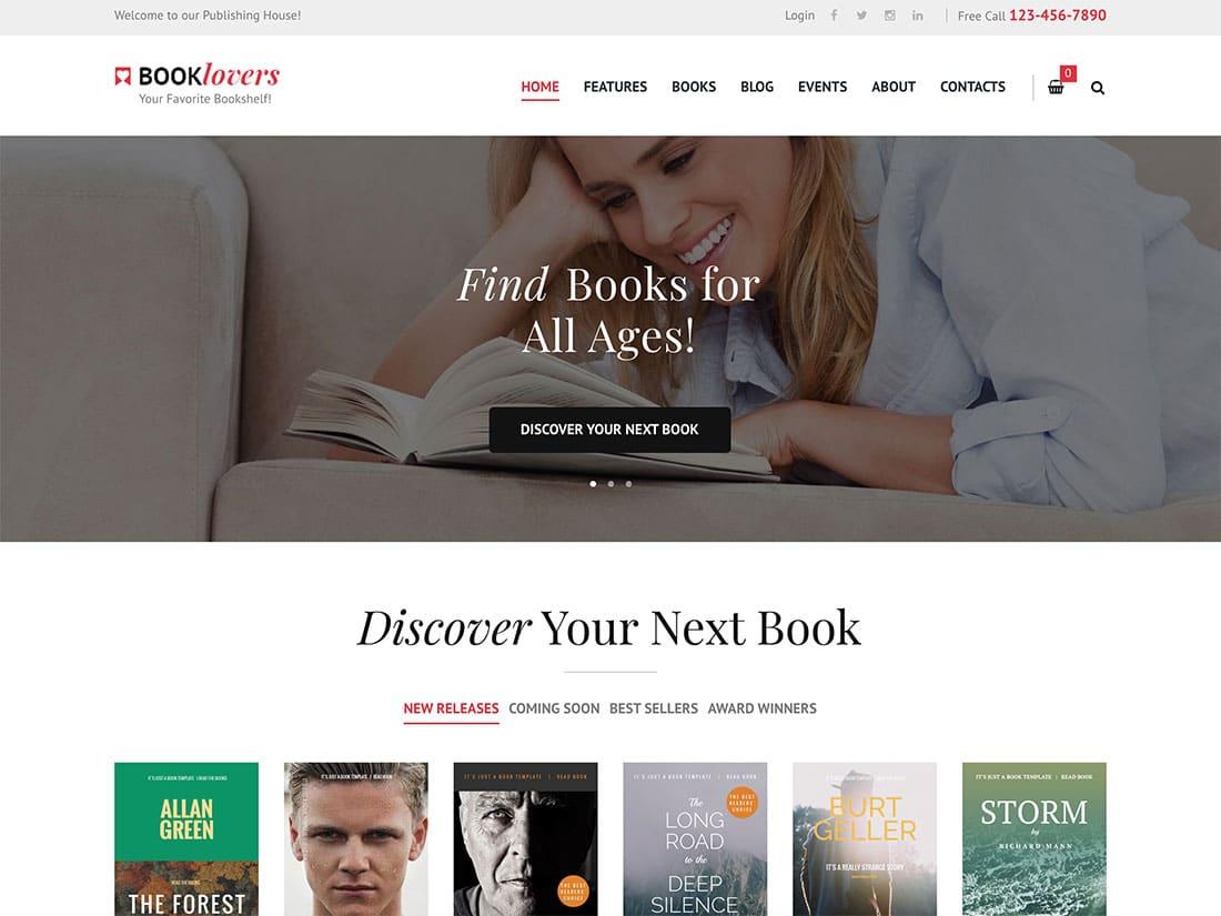 Booklovers-1 - 36+ Nice Bookstore WordPress Themes [year]