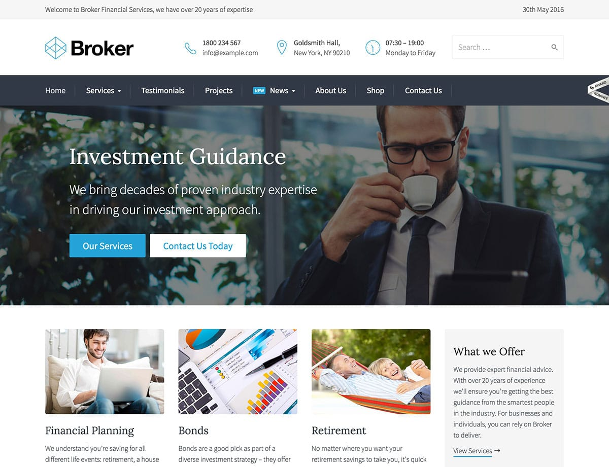 Broker - 60+ Nice WordPress Themes For Business [year]