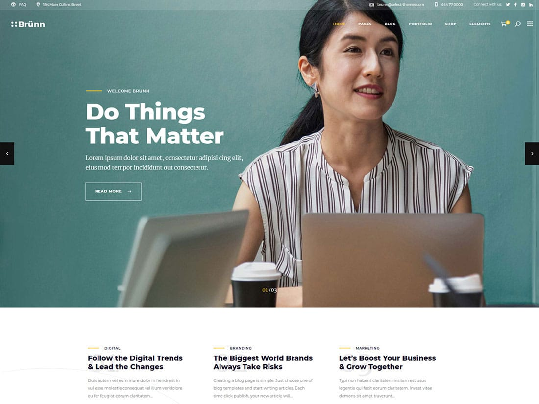 Brunn - 40+ Awesome WordPress Themes For Creative Agency [year]