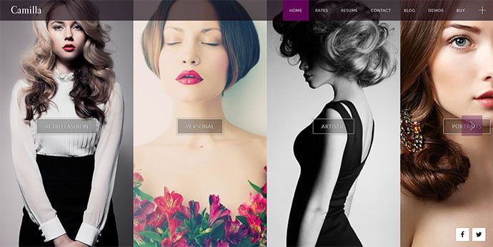 Camilla - 31+ Nice WordPress Themes For Dark Photography Portfolio [year]