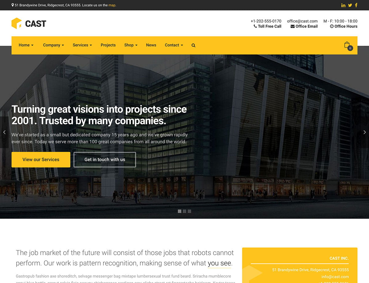 Cast - 36+ Top Quality WordPress Themes For Construction Company [year]