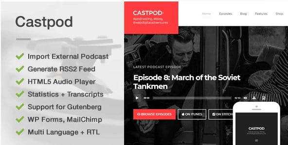 Castpod-1 - 36+ Awesome WordPress Themes For Podcast [year]