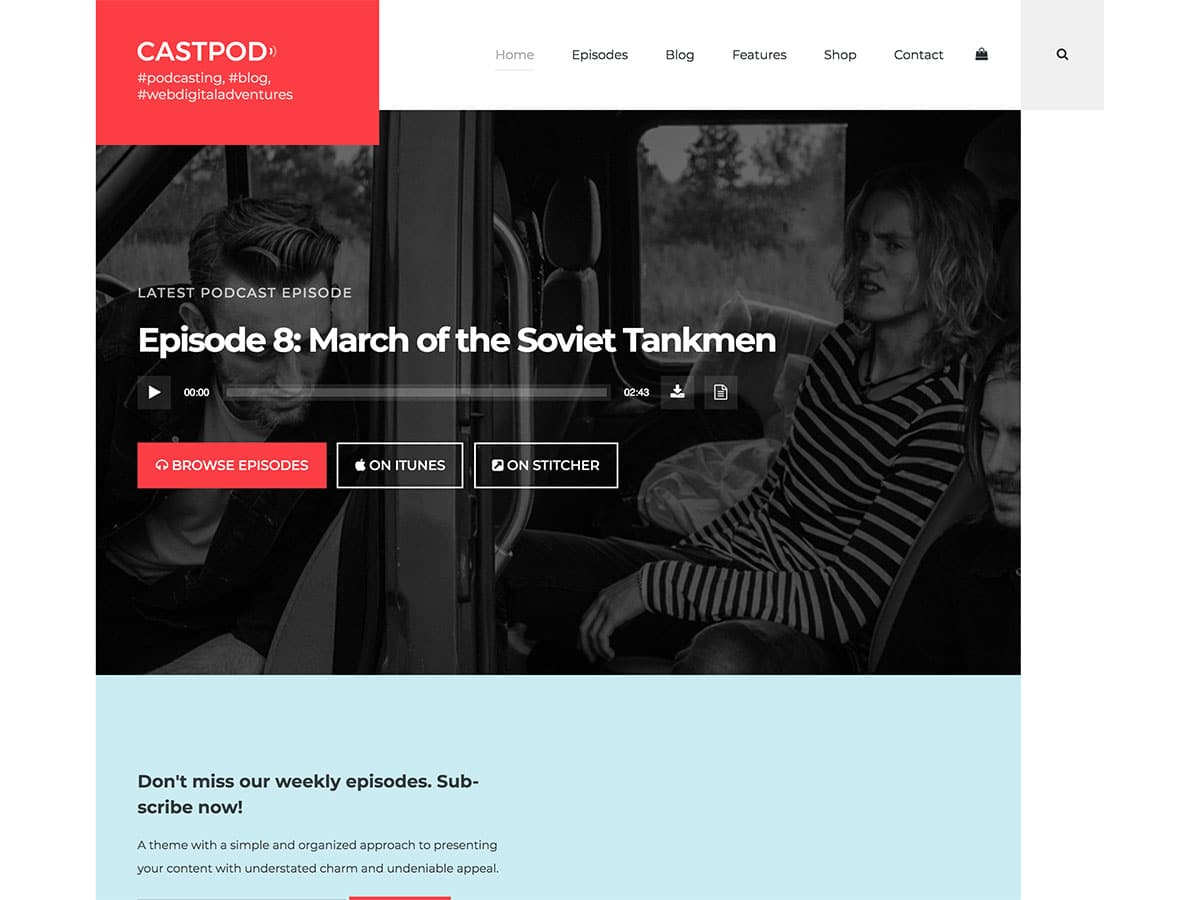 Castpod - 36+ Awesome WordPress Themes For Podcast [year]