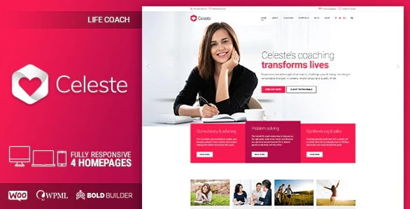 Celeste - 36+ Nice WordPress Themes For Coaching [year]