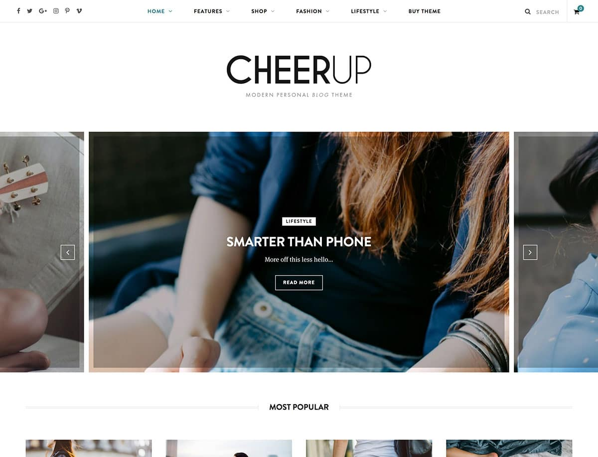 CheerUp - 36+ Nice WordPress Themes For Fashion Blog [year]