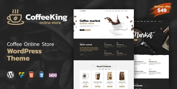CoffeeKing-1 - 36+ Top Quality WordPress Themes For Coffee Shop [year]