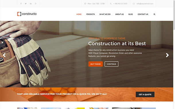 Constructo - 36+ Top Quality WordPress Themes For Construction Company [year]