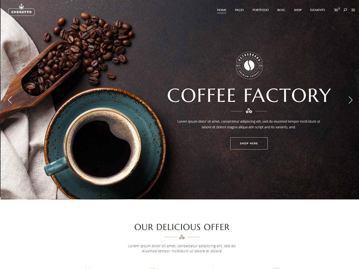 Corretto - 36+ Top Quality WordPress Themes For Coffee Shop [year]