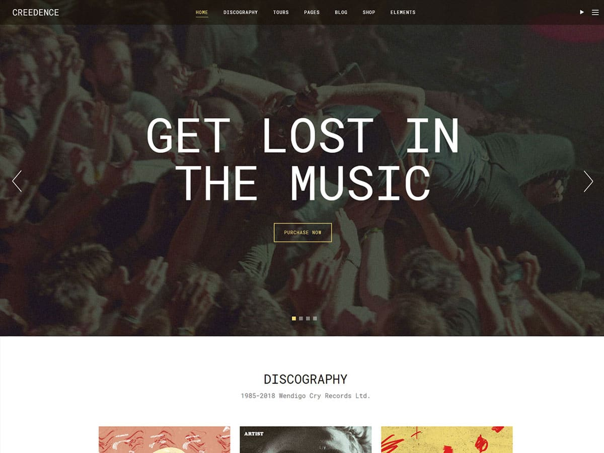 Creedence - 40+ Awesome WordPress Themes For Music [year]