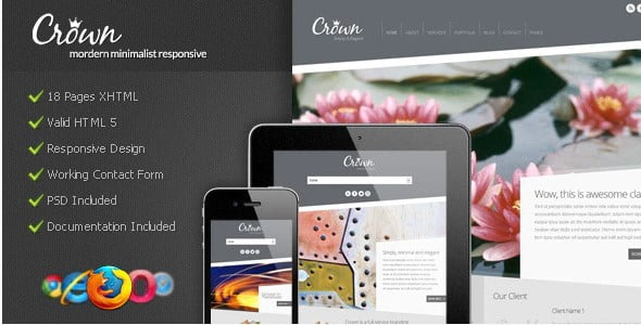 Crown - 36+ Awesome Minimalist WordPress Themes [year]