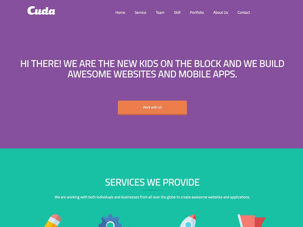 Cuda - 46+ Best Free WordPress One Page Themes [year]
