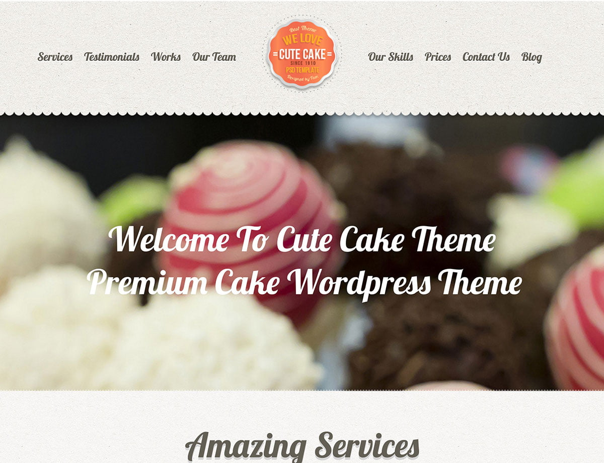 Cute-Cake-1 - 30+ Amazing Bakeries WordPress Themes [year]