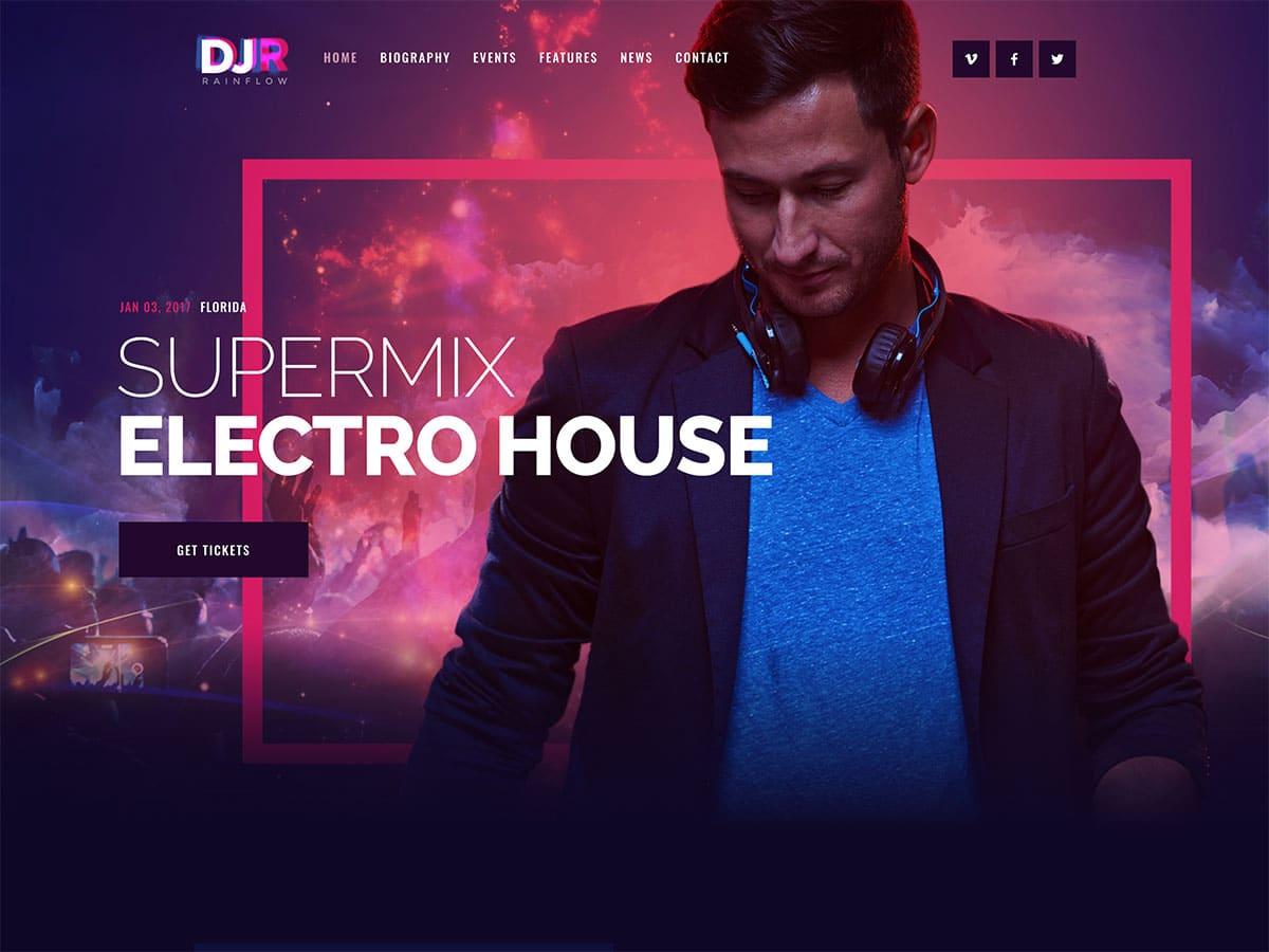 DJ-Rainflow - 35+ Nice WordPress Themes For Nightclub [year]