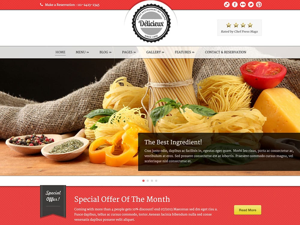 Delicieux - 50+ Nice WordPress Themes For Restaurant [year]