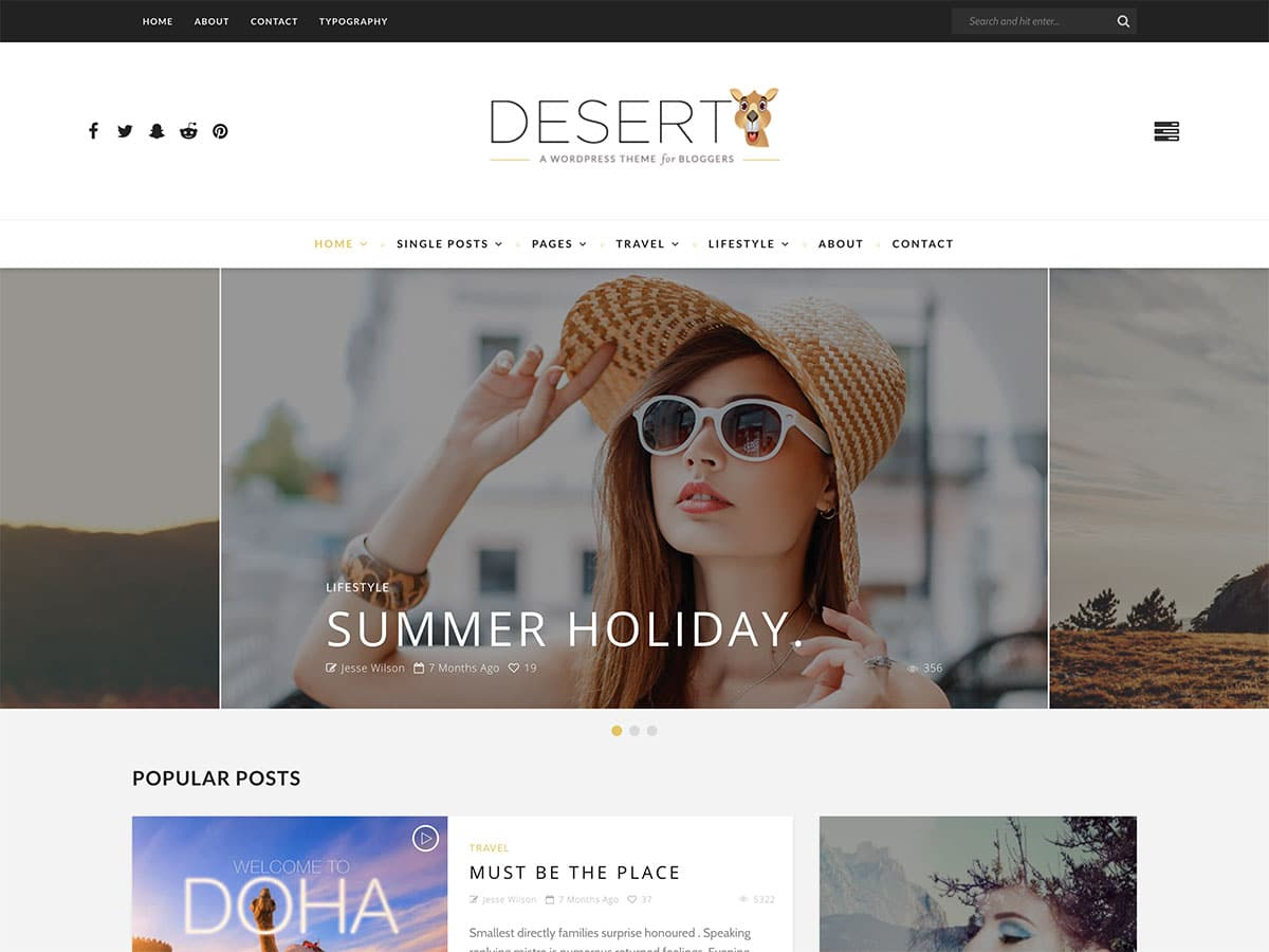 Desert - 30+ Awesome Travel Blog WordPress Themes [year]