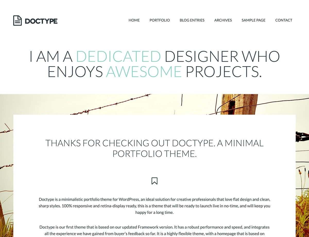 Doctype - 40+ Top Quality WordPress Themes For Portfolio [year]