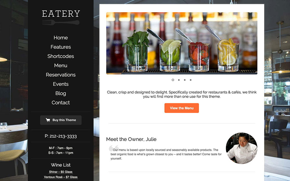 Eatery - 50+ Nice WordPress Themes For Restaurant [year]