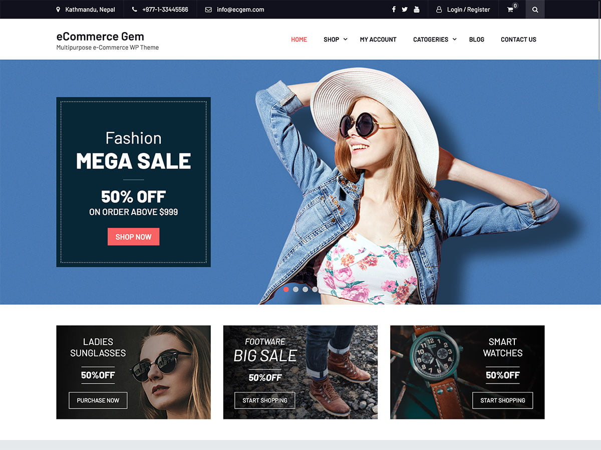 Ecommerce-Gem - 51+ Awesome Free WordPress Themes For Ecommerce [year]