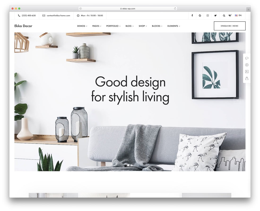 Ekko - 36+ Top Quality WordPress Themes For Interior Design [year]