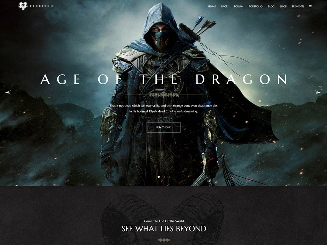Eldritch - 35+ Awesome WordPress Themes For Gaming [year]