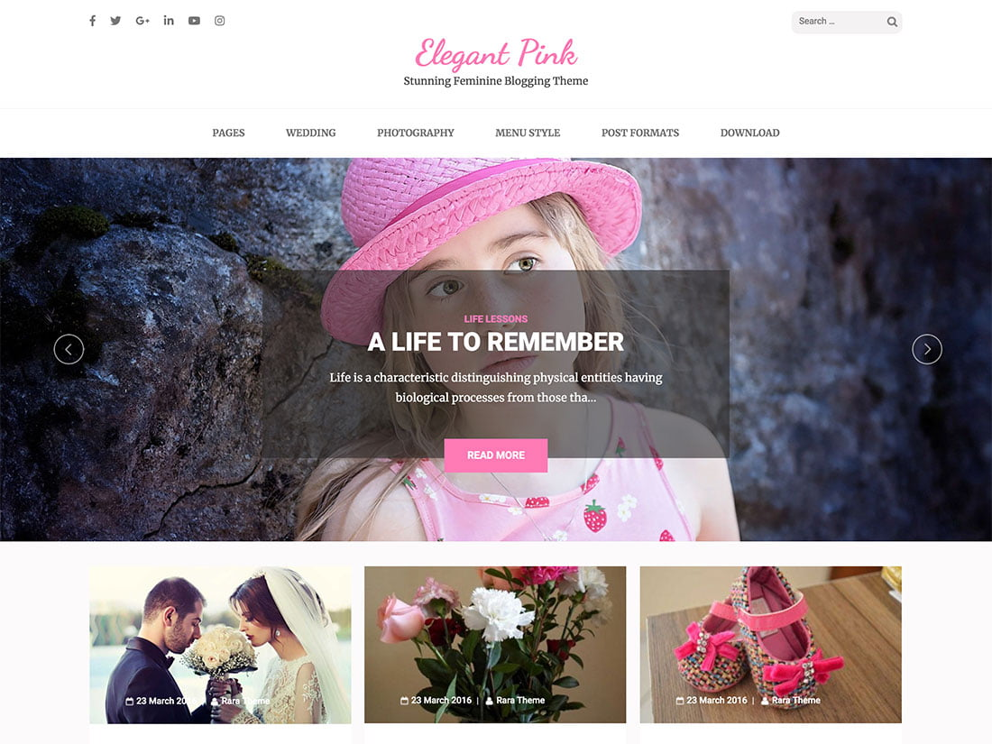Elegant-Pink - 36+ Elegant Free WordPress Wedding Themes [year]