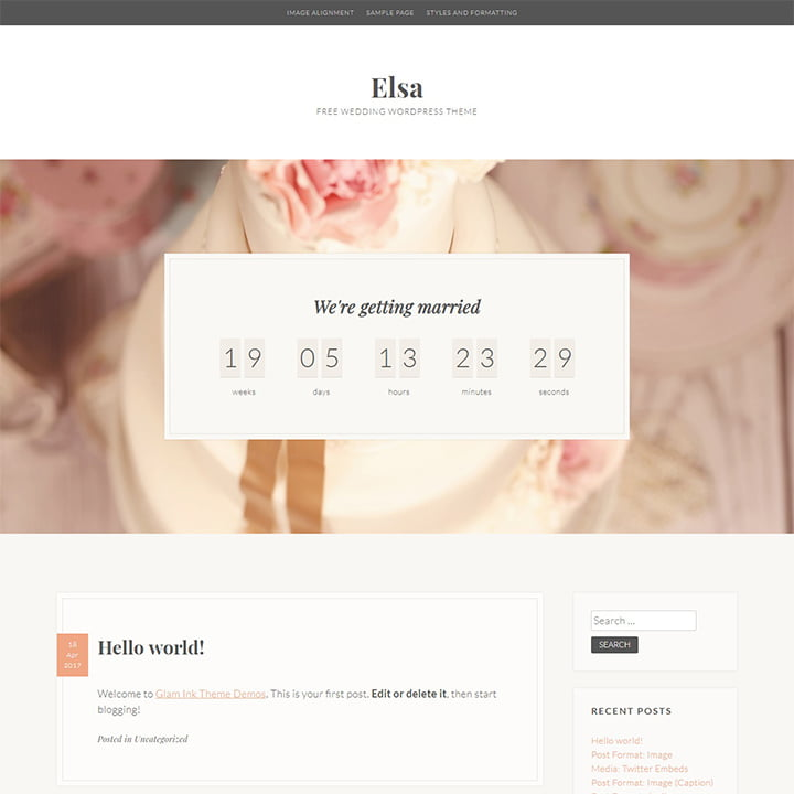 Elsa - 36+ Elegant Free WordPress Wedding Themes [year]