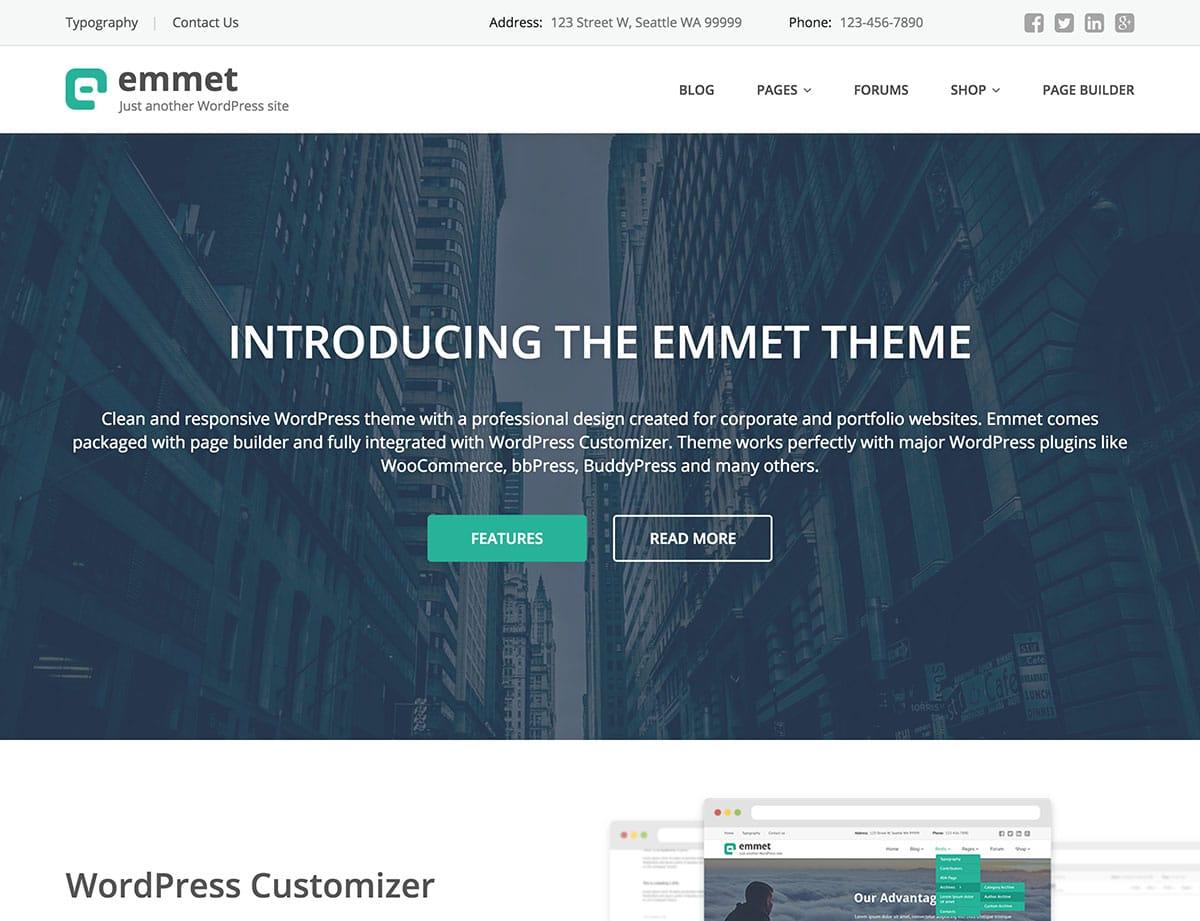 Emmet-Lite - 46+ Nice Free WordPress Portfolio Themes [year]