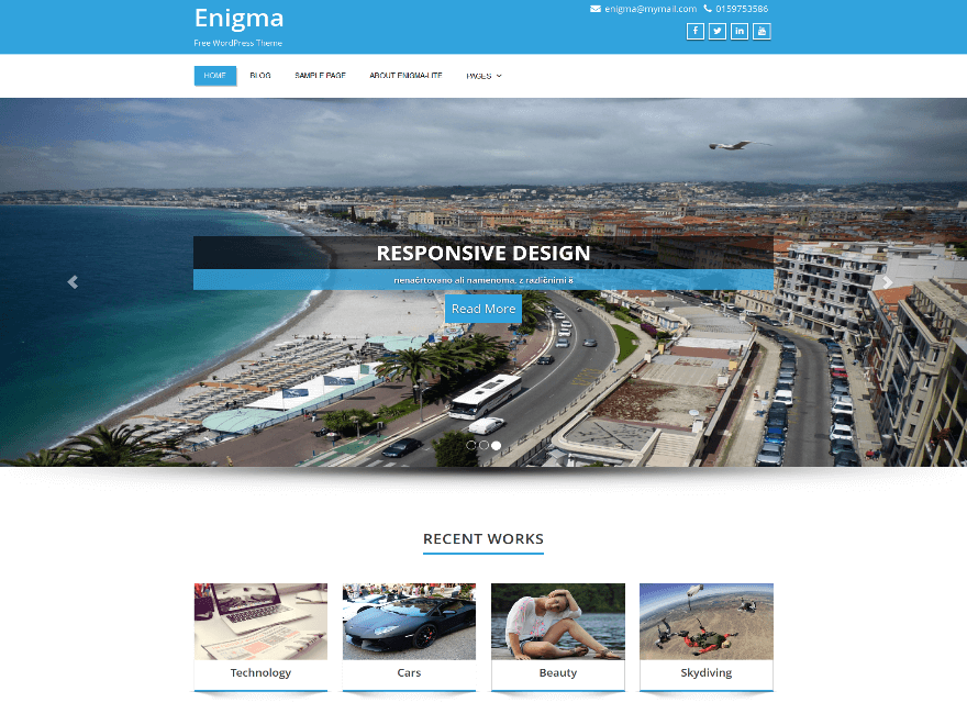 Enigma - 46+ Nice Free WordPress Portfolio Themes [year]